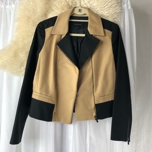 BANANA REPUBLIC/ two-tone moto jacket
